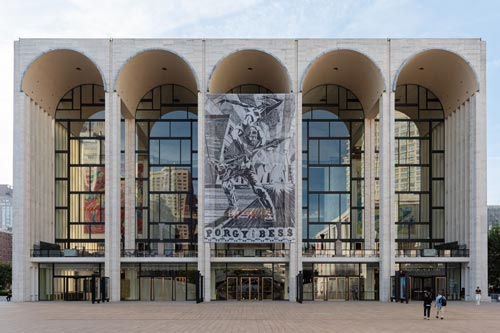 Porgy and Bess banner in front of Met Opera House.
