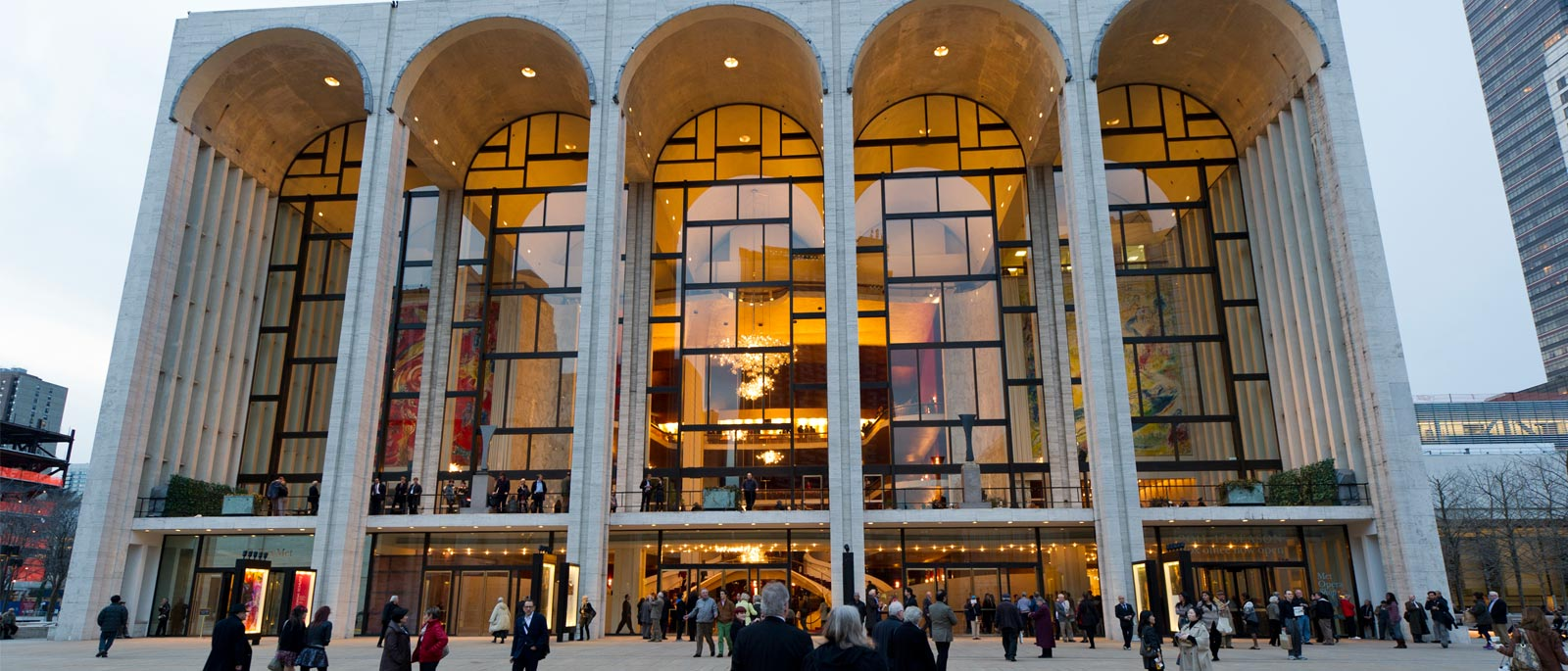 An outside view of the Met Opera house