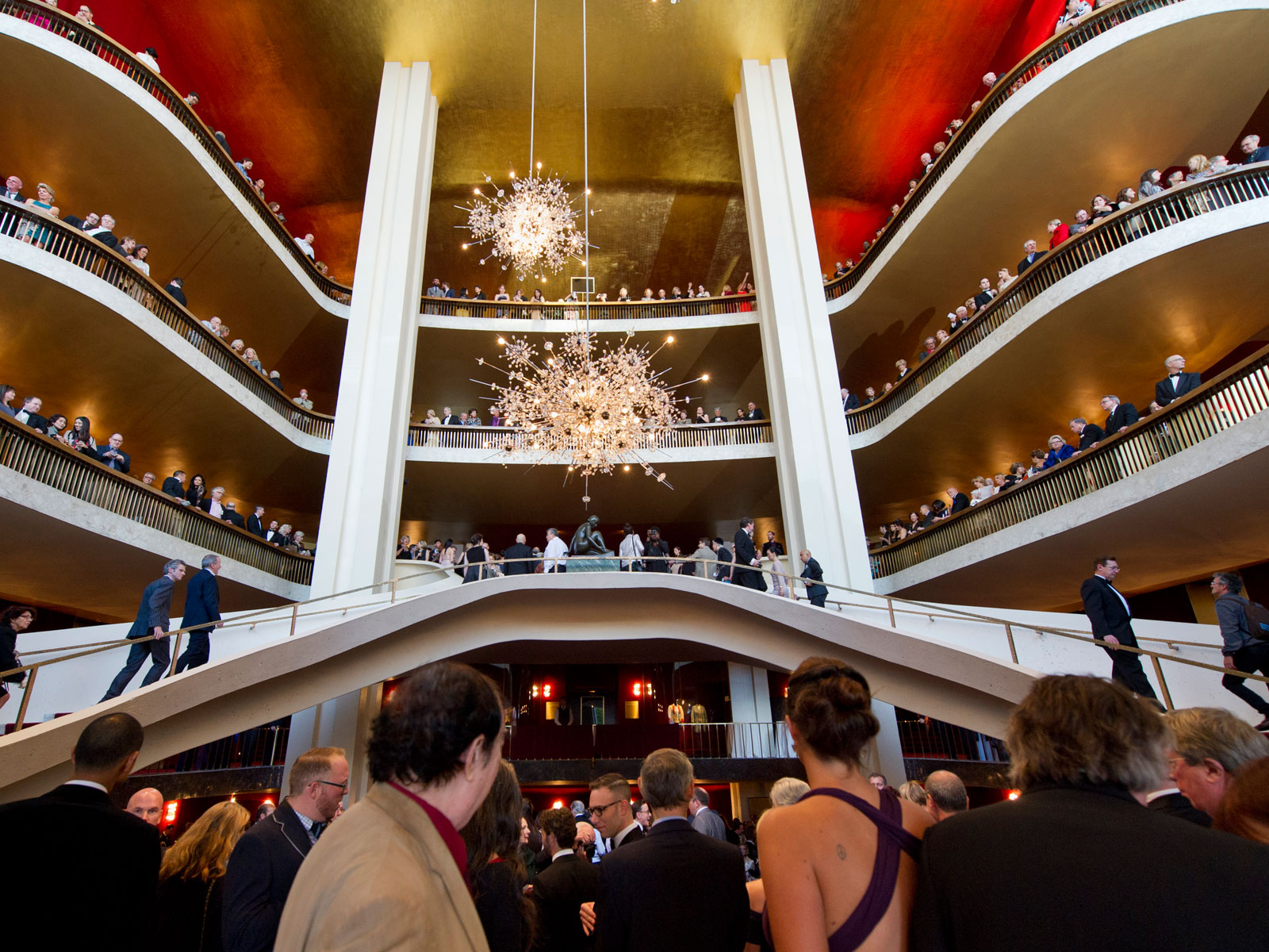 Lobby Of The Metropolitan Opera Before A Performance