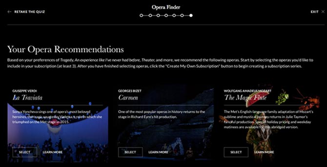 User interface of the Opera Finder, that assists a guest in creating opera recommendations.